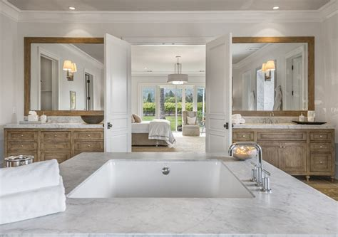 bedroom with ensuite designs napa valley farmhouse with neutral interiors home bunch