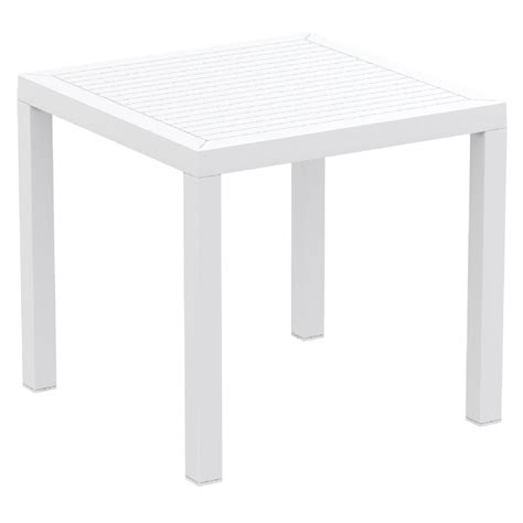 White Patio Cushions by Ares Resin Outdoor Dining Table 31 Inch Square White