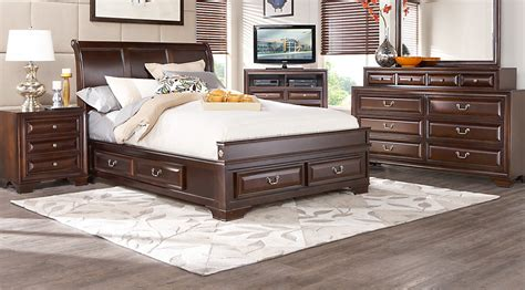 bedroom set with storage mill valley ii cherry 5 pc sleigh bedroom with