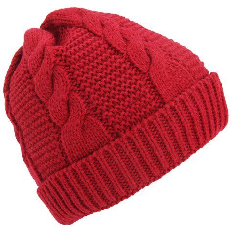 womens knit beanie womens cable knit fleece lined winter beanie hat ebay