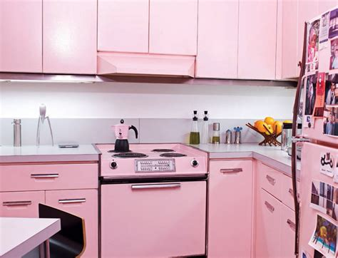 paint colors for vintage kitchen cool pink kitchen design with retro and chic look digsdigs