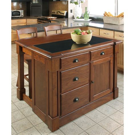 kitchen islands com aspen rustic cherry granite top kitchen island w
