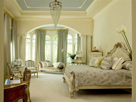 traditional bedroom design neutral traditional bedroom with blue tray ceiling hgtv
