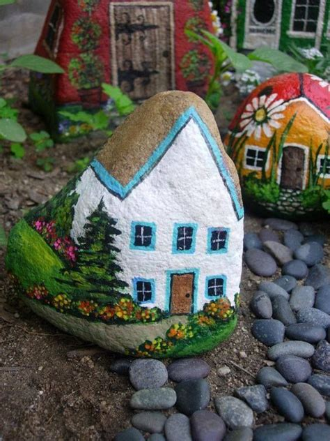painting rocks for garden painted rocks as houses for garden pictures photos