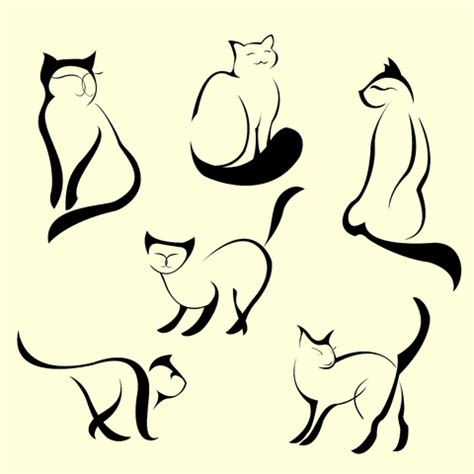 cat designs line drawings on penguin cat tattoos
