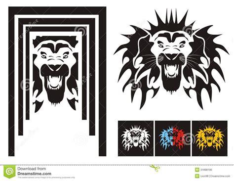 tribal lion head variants royalty free stock image