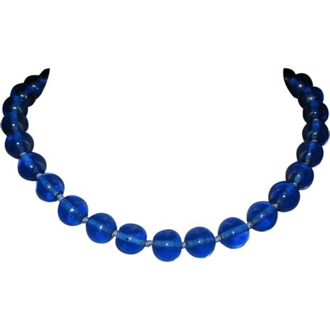 vintage glass bead necklace glass bead necklace cobalt vintage from lakegirlvintage