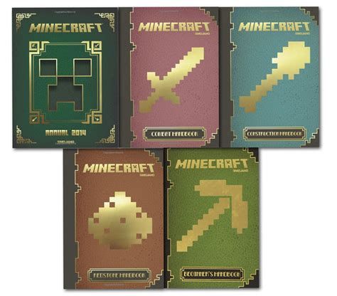 minecraft picture books minecraft 5 handbook collection set mojang book combat