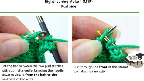 left increase knitting increases make 1 left right knit side purl side with