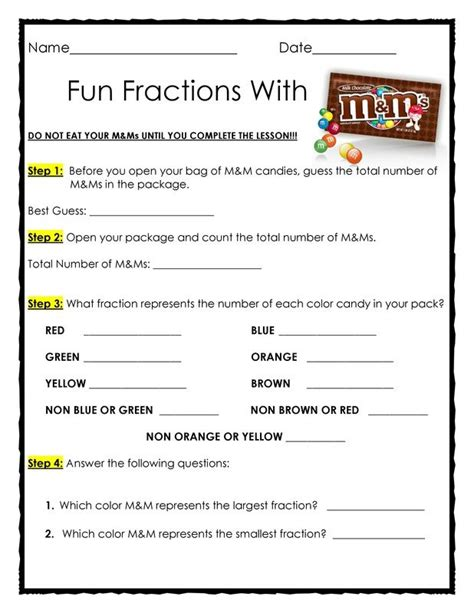 99 ideas and activities for teaching learners with the siop model free fractions with m ms materials needed 1 snack