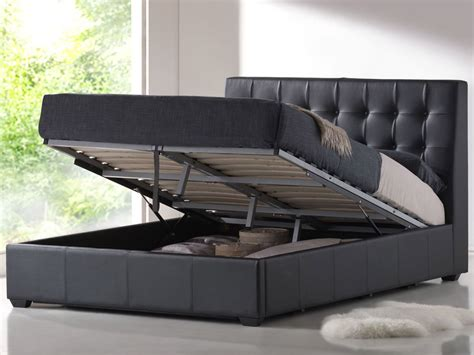 bed black contemporary black leather king platform bed with storage