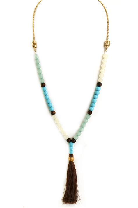 tassel bead necklace glass bead tassel necklace necklaces
