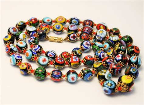 glass bead vintage venetian glass bead necklace murano glass