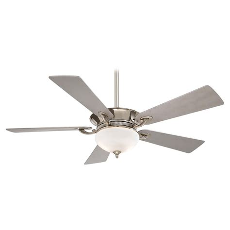 silver ceiling fan ceiling fan with light with white glass in polished nickel