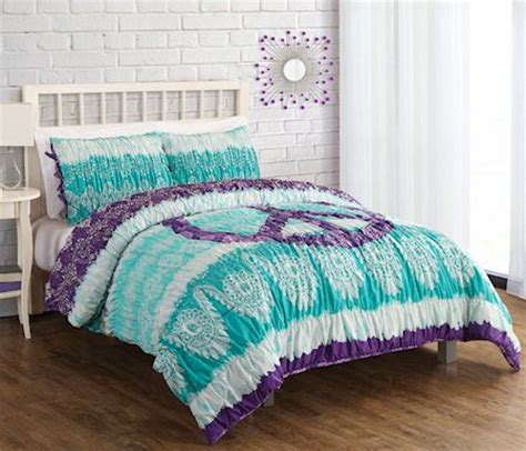 peace sign comforter sets green purple peace sign bedding