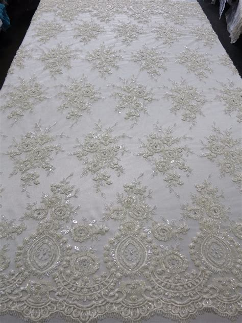 beaded fabrics by the yard white bridal mesh w embroidery beaded lace fabric