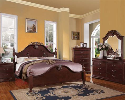 cherry bedroom furniture set bedroom set gwyneth cherry by acme furniture ac21860set