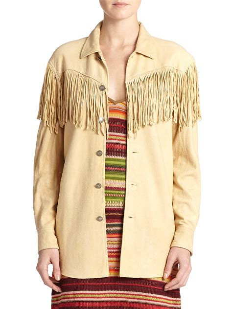 fringe shirt with polo ralph suede fringe trim shirt in lyst
