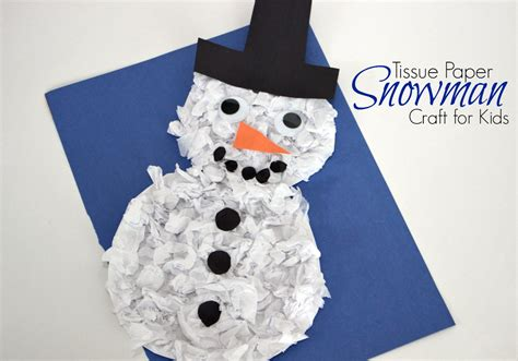 handprint craft for diy tissue paper snowman craft for