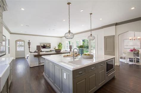 square kitchen islands white sectional with gray pillows and transitional living room
