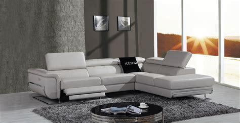 modern leather recliner sofa divani casa e9054 modern grey leather sectional sofa w