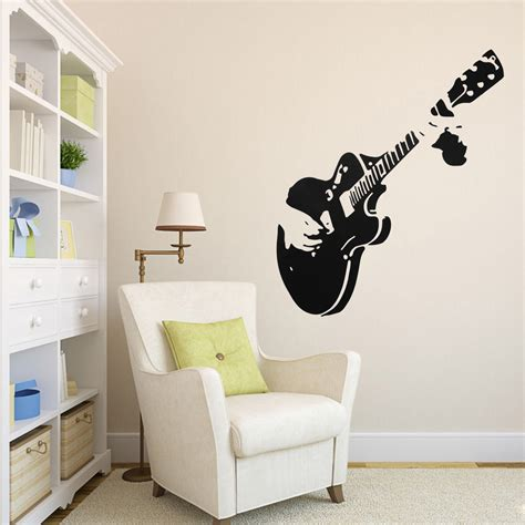 guitar wall stickers guitar wall sticker guitarist removable decal home