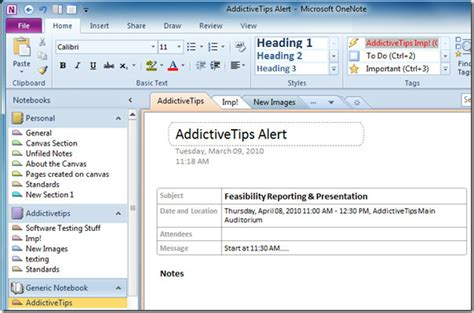 send outlook 2010 meeting details to onenote 2010