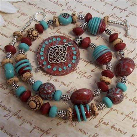 how to use polymer clay to make jewelry southwestern necklace with handmade polymer clay