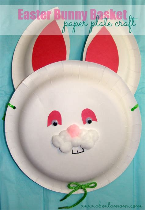 paper plate basket craft easter bunny basket paper plate craft about a