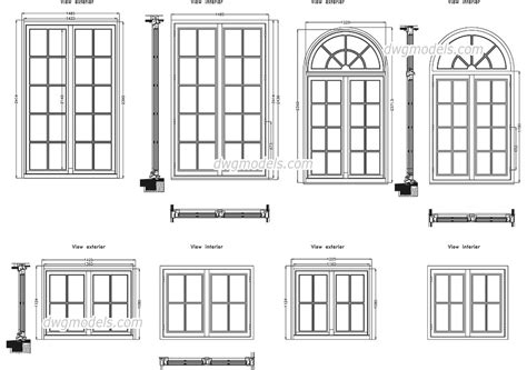 Home Decorative Plants detailed window dwg free cad blocks download