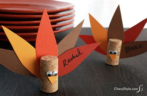 thanksgiving place cards for to make cork turkey place cards family crafts