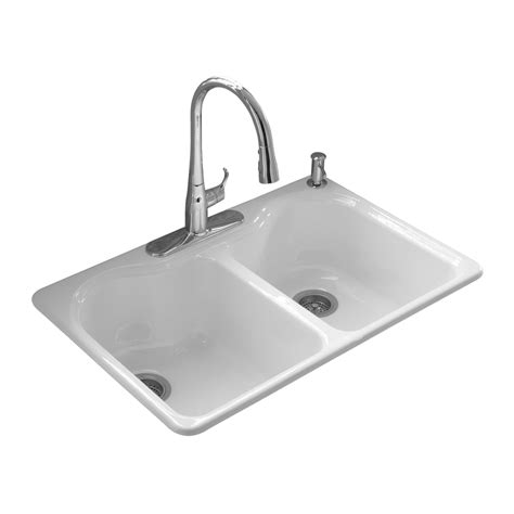 kholer kitchen sinks shop kohler hartland white basin drop in kitchen