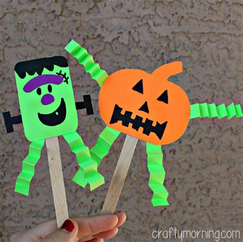 haloween crafts for easy popsicle stick puppets crafty morning
