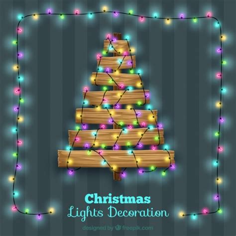 tree with lights and decorations wooden tree with light decoration vector free