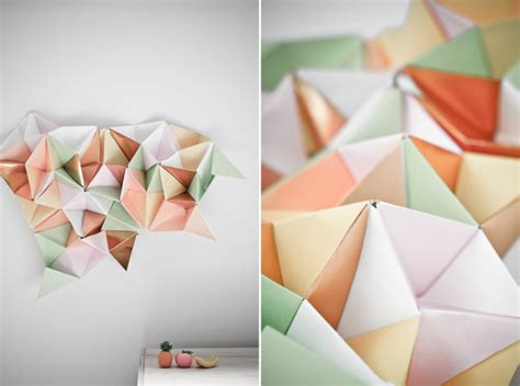 paper triangles origami white wall gallery triangles goes origami