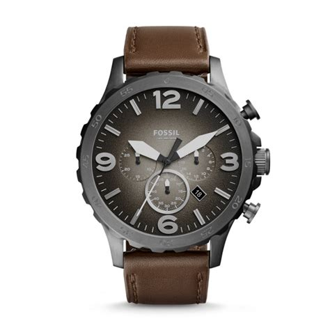 brown leather watches for nate chronograph brown leather fossil