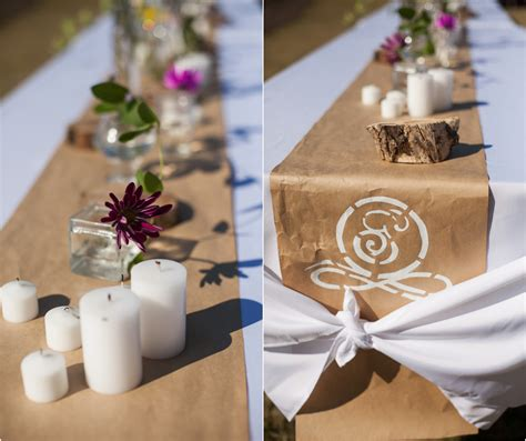 craft paper table runner industrial style wedding rustic wedding chic