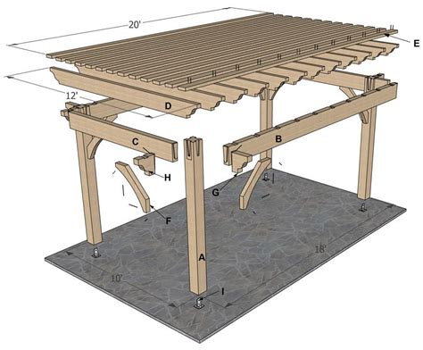 pergola free plans planning for a 12 x 20 timber frame sized diy
