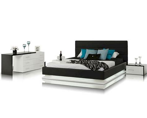 contemporary bed set contemporary bedroom set w platform bed with lights 44b180set