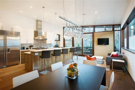 modern kitchen and dining room design kitchen and dining room of small contemporary house in