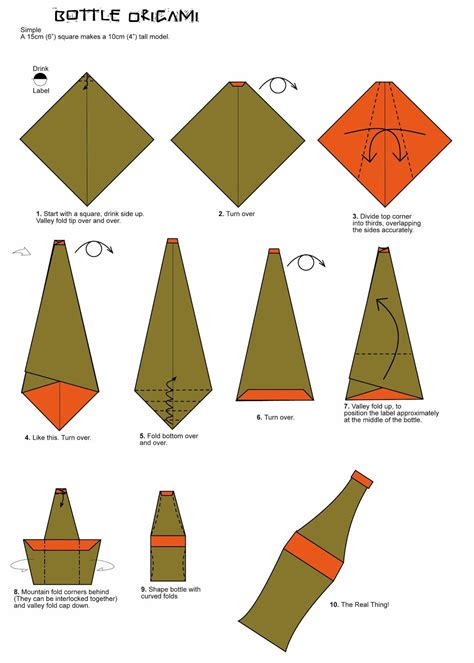 origami easy bottle origami folding diagram paper origami guide