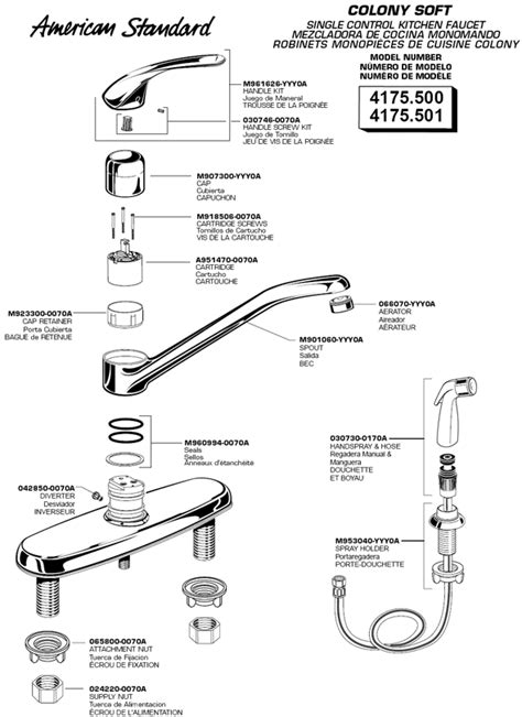 american standard kitchen faucets parts american standard kitchen faucet parts akomunn