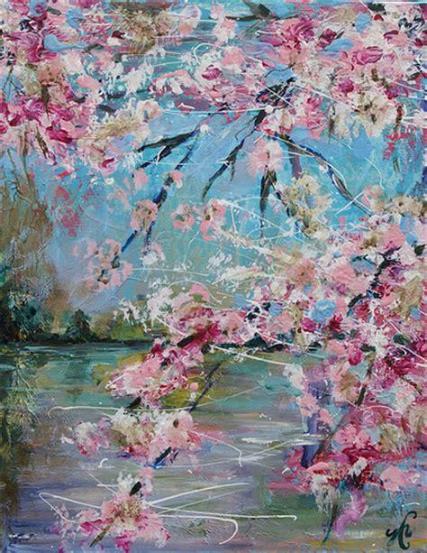 acrylic painting cherry blossom cherry blossom sold 11x14 original acrylic painting