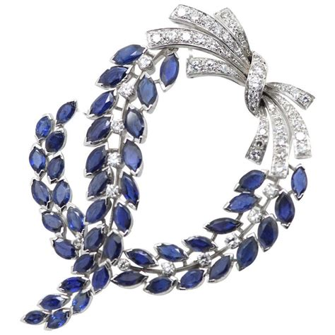 jewelry pins massoni sapphire and brooch at 1stdibs