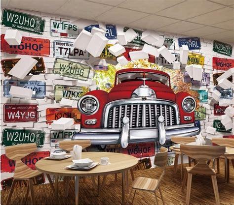 Car Wallpaper Decorating by Custom Photo Mural 3d Wallpaper Vintage Car License Plate