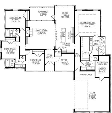 4 bedroom floor plans 653665 4 bedroom 3 bath and an office or playroom