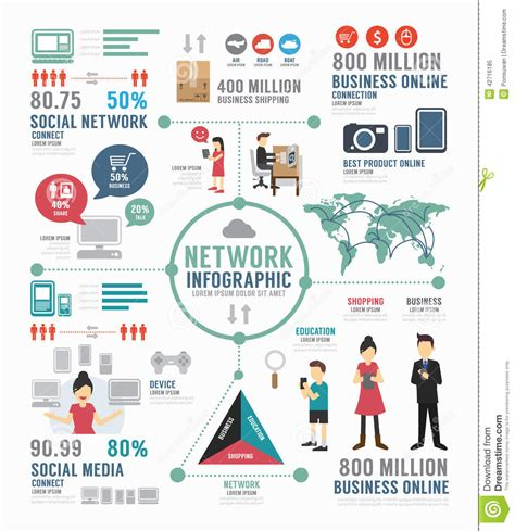 infographic social network template design concept