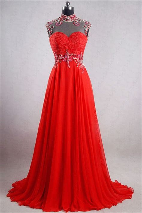 backless beaded prom dress a line high neck backless chiffon beaded evening