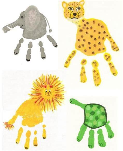 handprint crafts for make animals with handprints teaching ideas