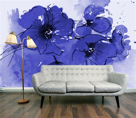 paper wall murals wallpaper wednesday indigo poppy mural by digetexhome